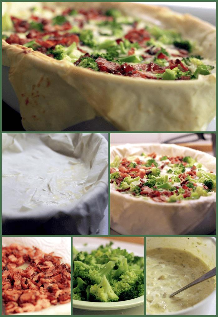 Filodejs tærte med kartoffelmosbund, broccoli og bacon