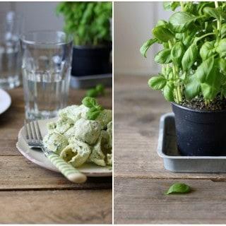 Cremet pastasalat med grøn pesto og græsk yoghurt
