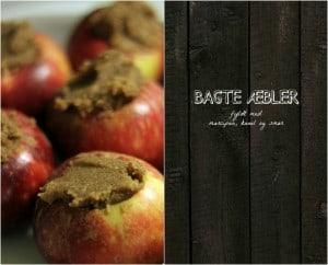 Ovnbagte æble fyldt med marcipan