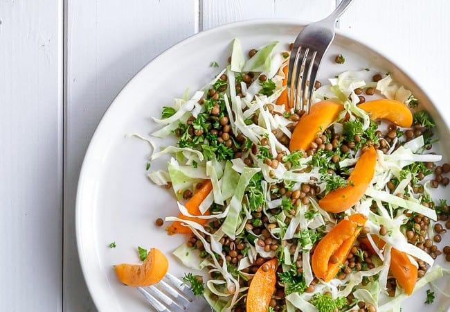 salat med aprikos - spidskål - linser - opskrift