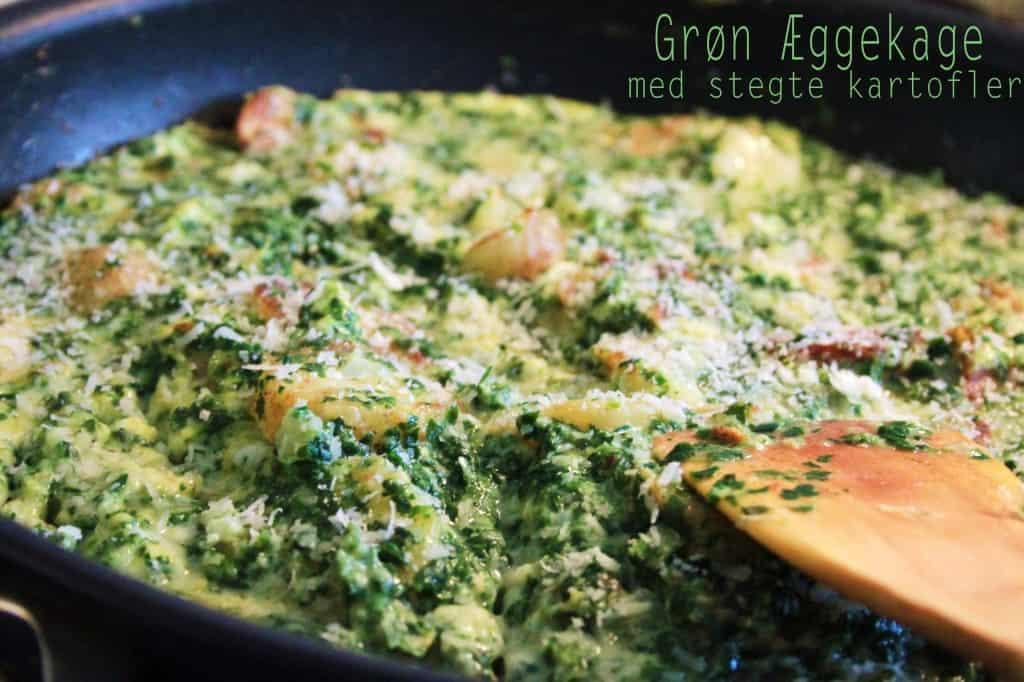 Æggekage med kartofler og spinat