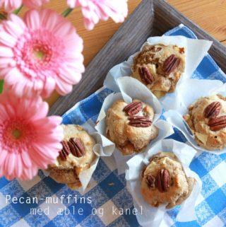 Muffins med pecannødder, æble og kanel