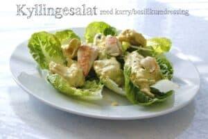 Salat med kylling og karrydressing