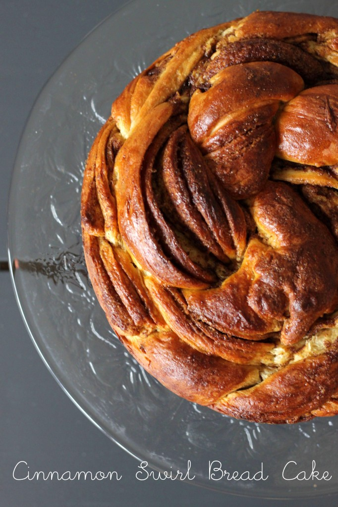 Cinnamon Swirl Bread Cake – served with caramel sauce