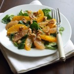 Appelsin/grape salat med valnødder