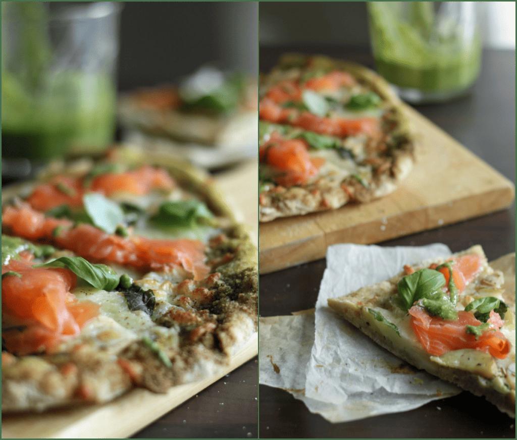 Pizza med kartofler, grøn pesto og laks - opskrift på hjemmelavet pizza