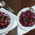 Rødkål/rødbedesalat med solbær, granatæble og timian
