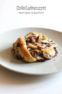 chokoladesnurrer med marcipan