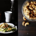 Squash-spaghetti med spejlægsstrimler og cashewnødder
