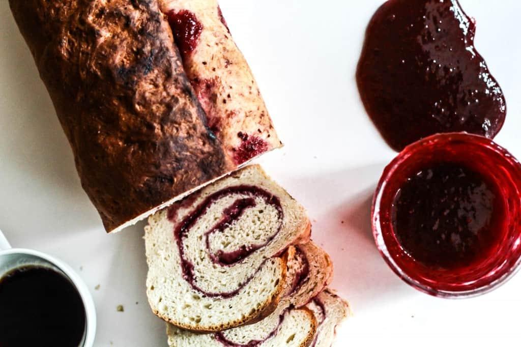 Berry swirl banana bread