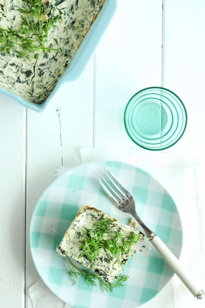 Nordisk Pastafad m. laks, spinat & dild