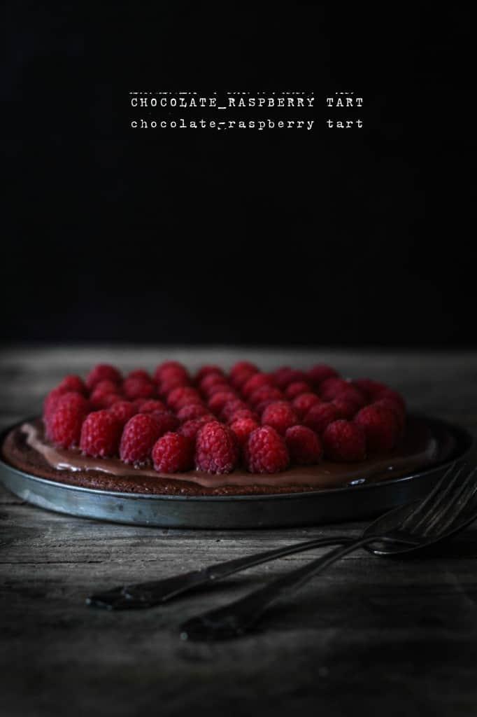 chokoladetærte med hindbær