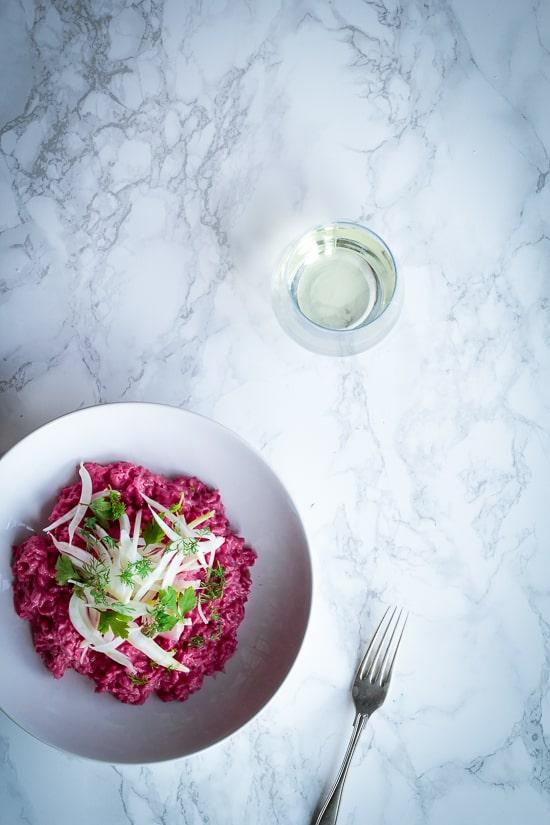 Risotto med rødbede, fennikel og peberrod