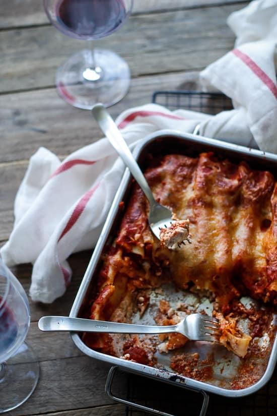 Cannelloni med hytteost, feta og skinke