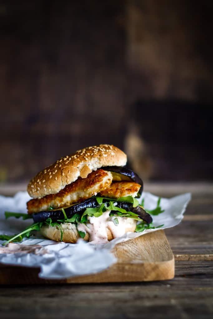 kyllingeburger med aubergine - burgeropskrift