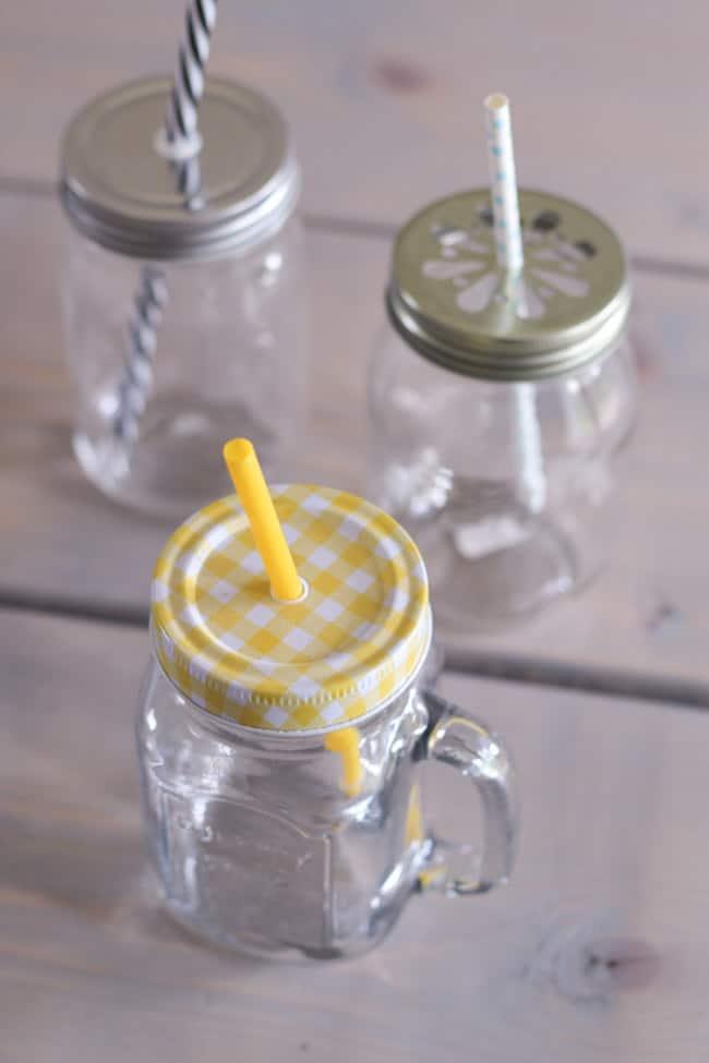 glas med sugerør - mason jar med hank
