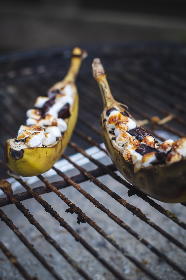 Grillede Banan S'mores med chokolade