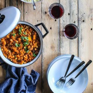 Marrokansk gryderet med græskar og kikærter - aftensmad