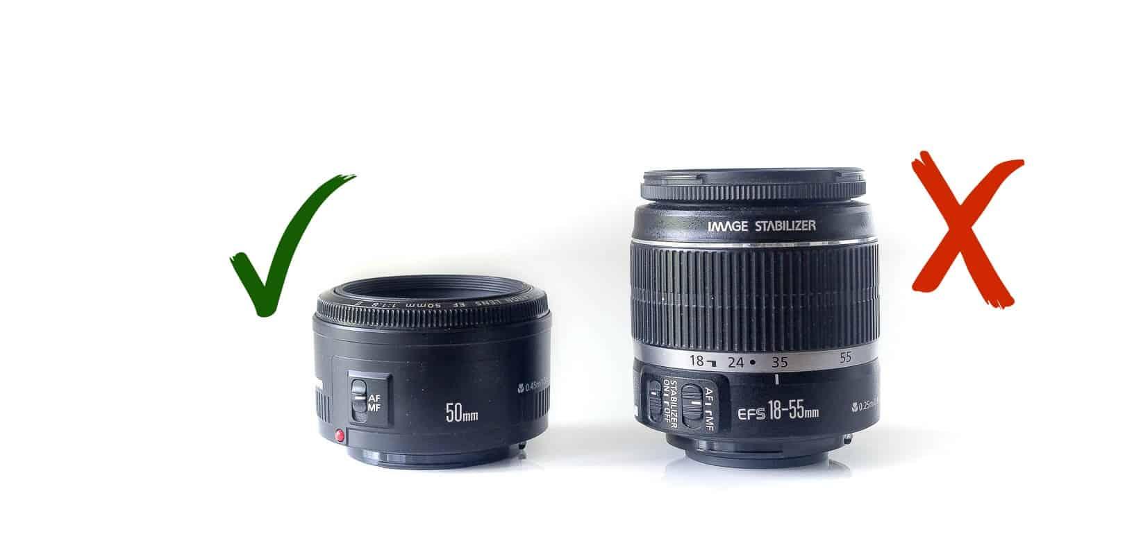 50 mm vs. kit objektiv