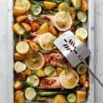 Laks i ovn - opsktift med grøntsager og asparges